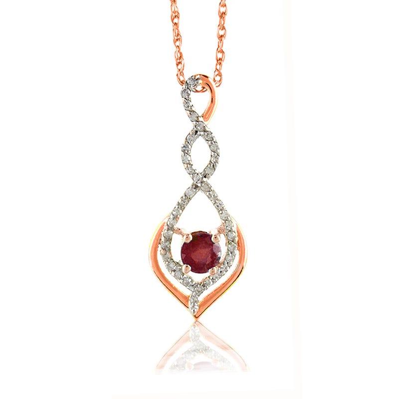 Ruby Diamond Twist Drop Pendant in 10k Rose Gold