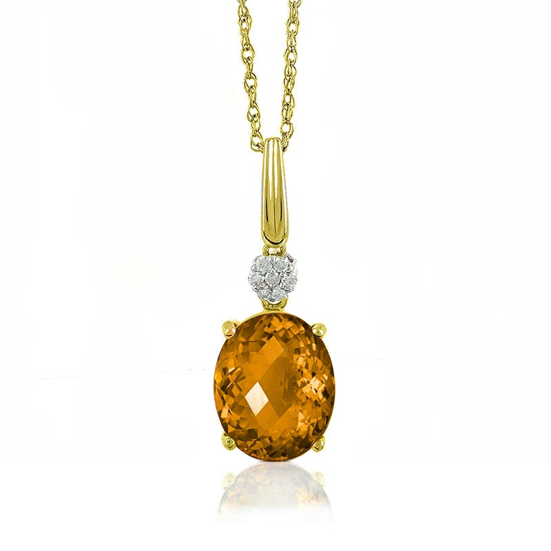 Citrine Oval & Diamond Pendant in 10k Yellow Gold