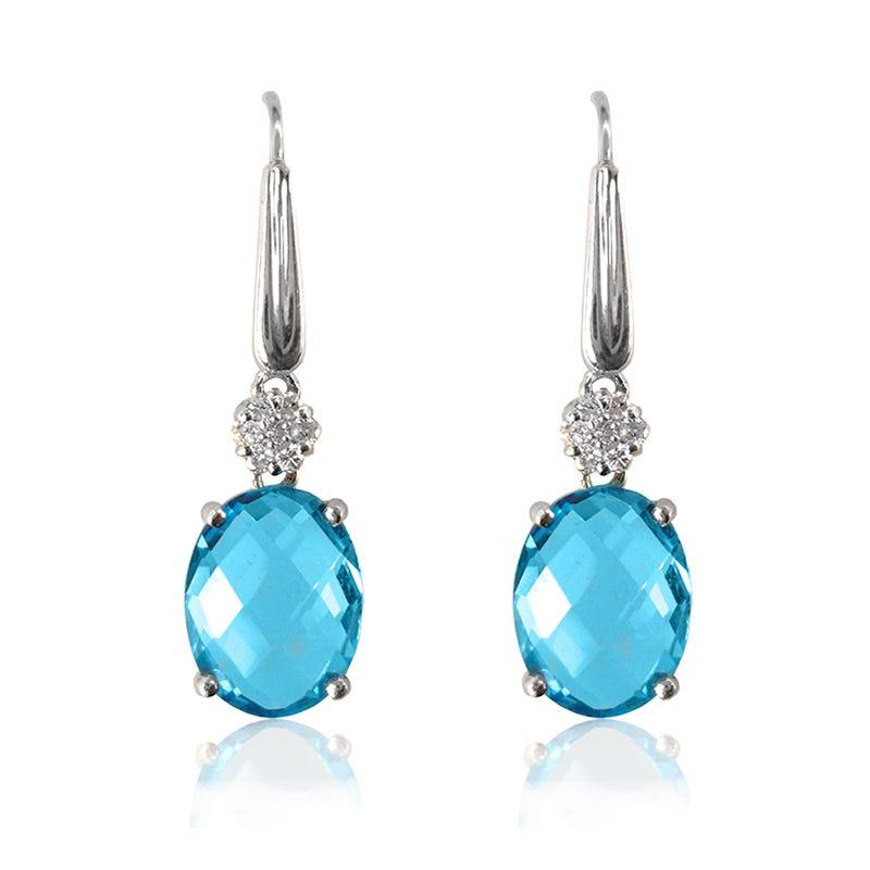 Blue Topaz Oval & Diamond Drop Earrings in 10k White Gold
