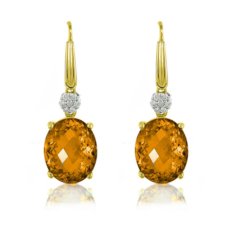 Citrine Oval & Diamond Drop Earrings in 10k Yellow Gold