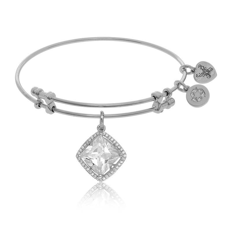 White Crystal Halo Charm Bangle Bracelet in White Brass