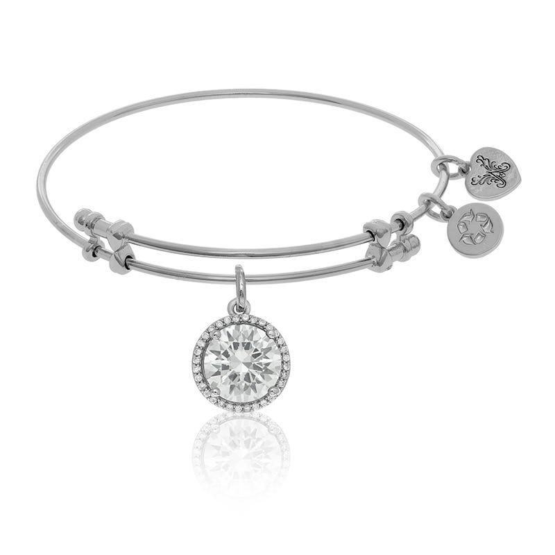 April Birthstone Crystal Charm Bangle Bracelet in White Brass