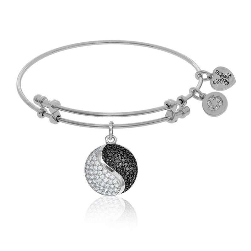 Yin-Yang Black & White Crystal Charm Bangle Bracelet in White Brass