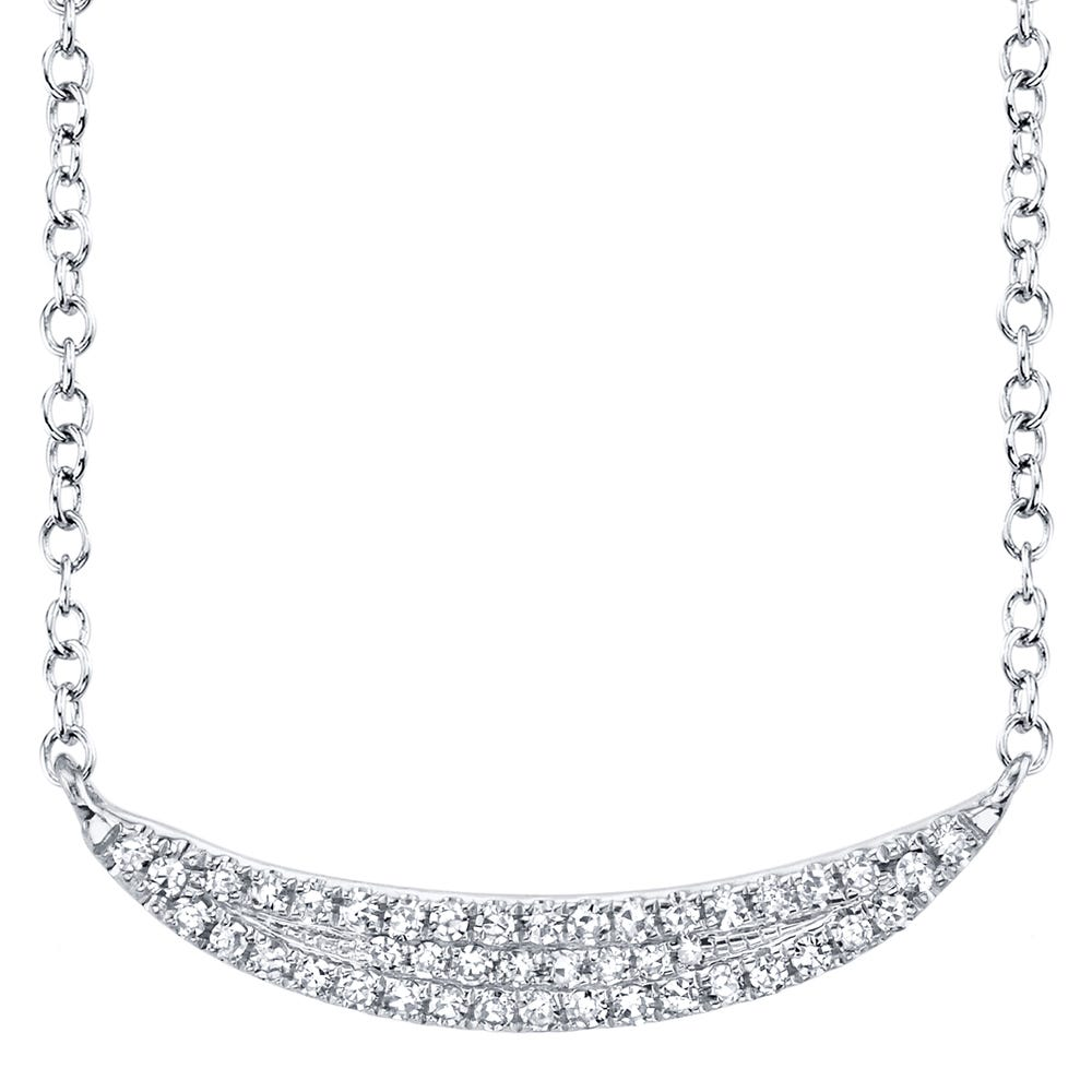 Shy Creation: Curved Pave 1/10ctw Bar Necklace in 14k White Gold