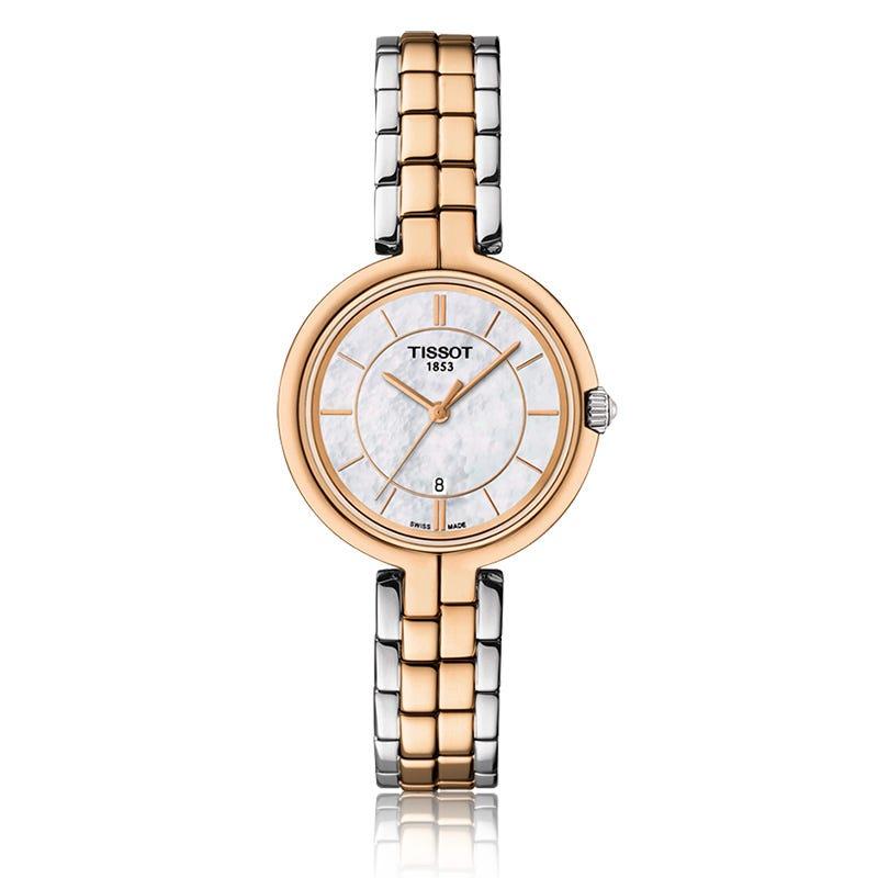 Tissot Flamingo Women'S Quartz  Mop White Dial Two-Tone Bracelet Watch