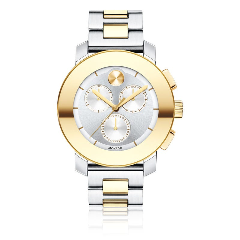 Movado BOLD Ladies Two-Tone Midsize Chronograph with Rose Gold Dot Bracelet Watch 3600357