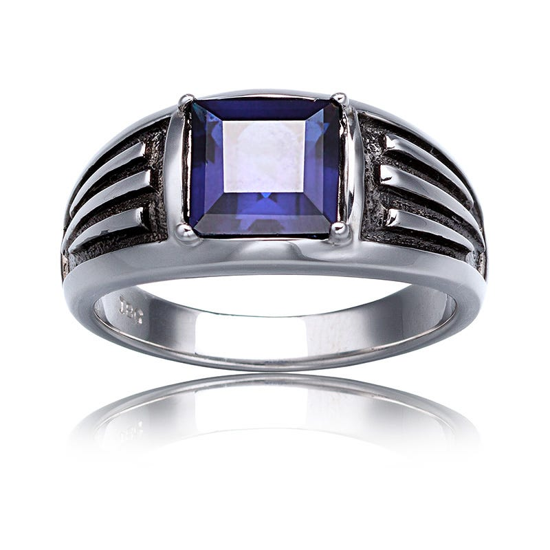 Men's Created Sapphire Gemstone Ring Sterling Silver