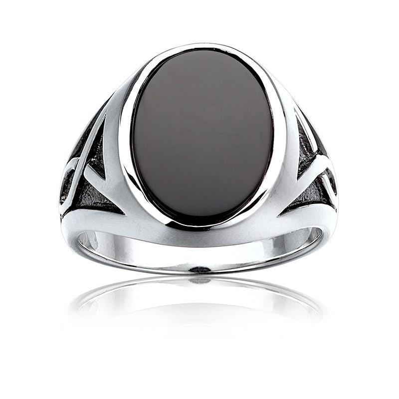 Mens Diamond /& Black Onyx Ring set in Sterling Silver