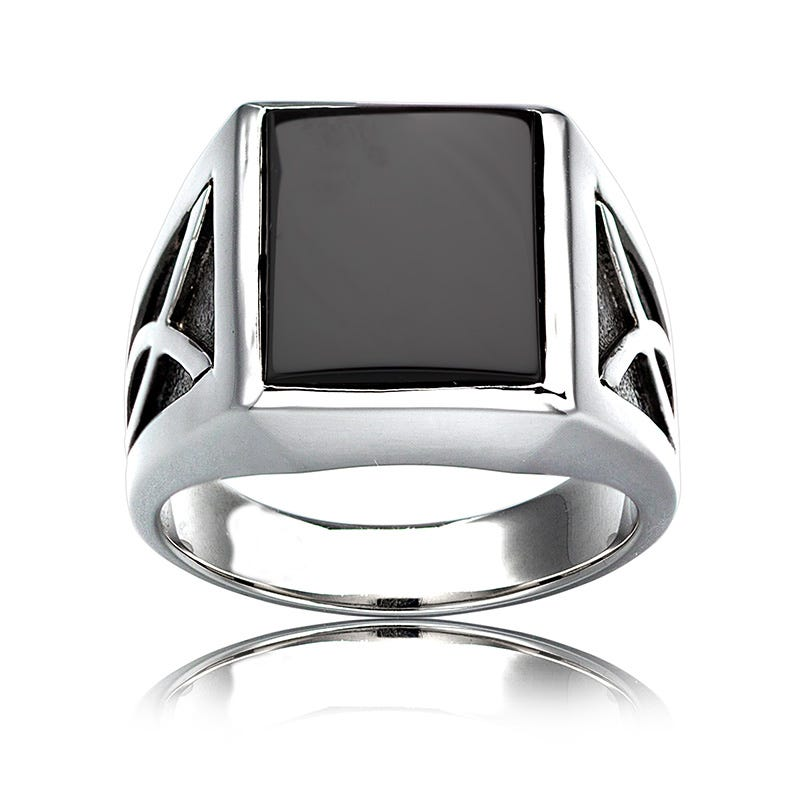 Men's Square Black Onyx Ring in Sterling Silver