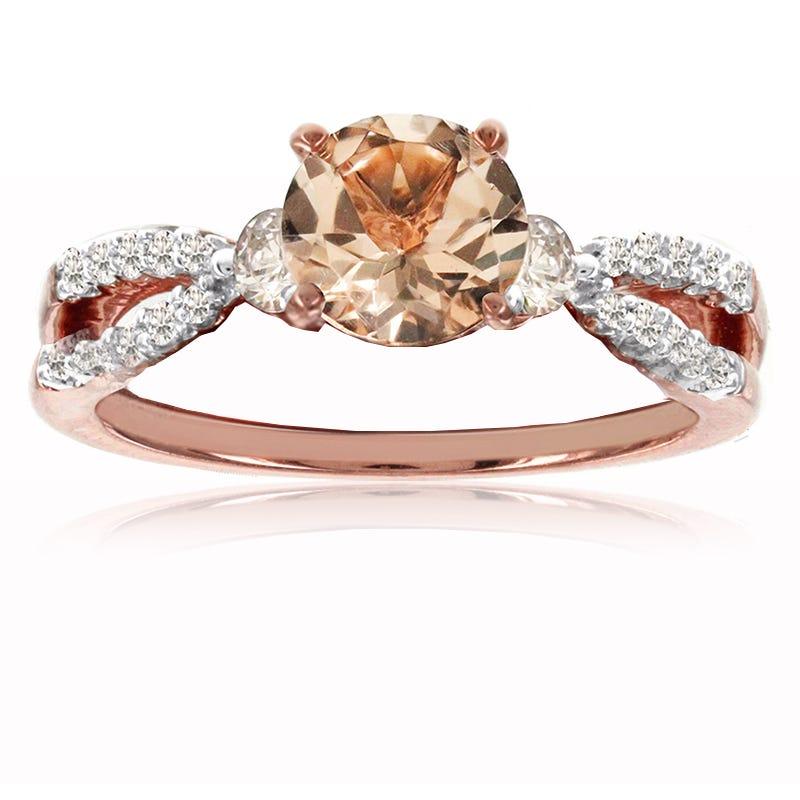 Morganite & Diamond Twist Shank Ring in 10k Rose Gold
