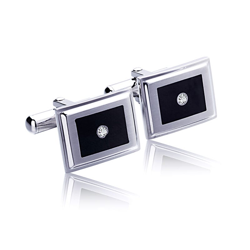 Men's Stainless Steel Diamond Cufflinks