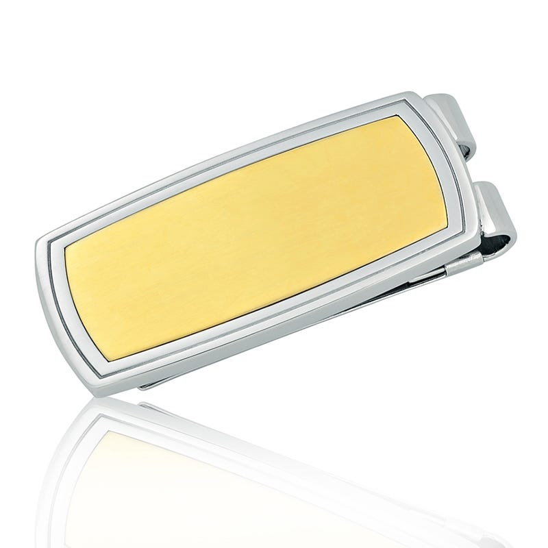 Men's Stainless Steel Yellow Ion-Plated Money Clip