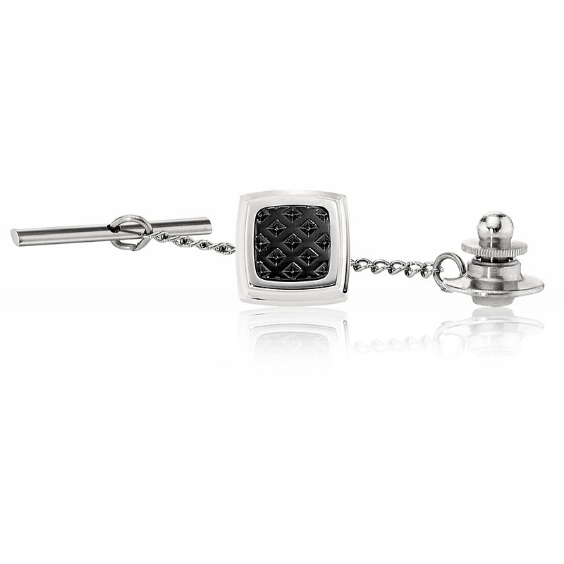 Men's Stainless Steel Tie Tac with Black Ion-Plated Texture Inlay
