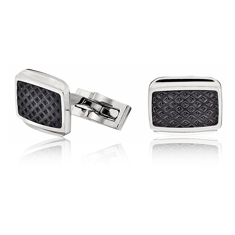 Men's Stainless Steel Cuff links with Black Ion-Plated Texture Inlay