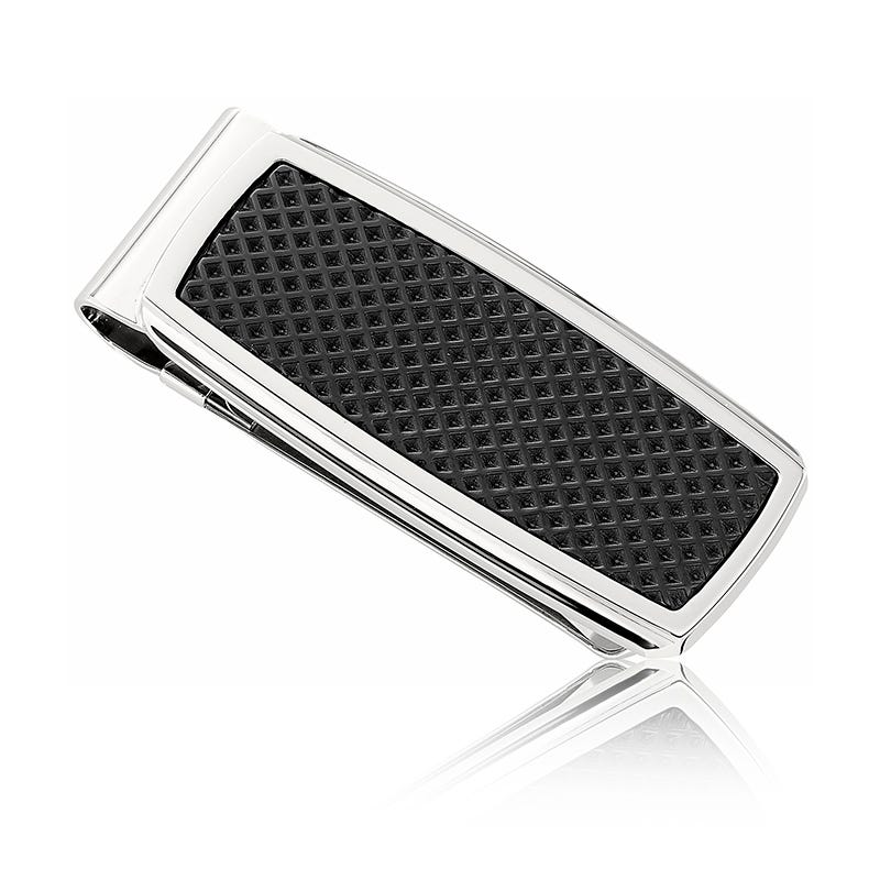 Men's Stainless Steel Money Clip with Black Ion-Plated Texture Inlay