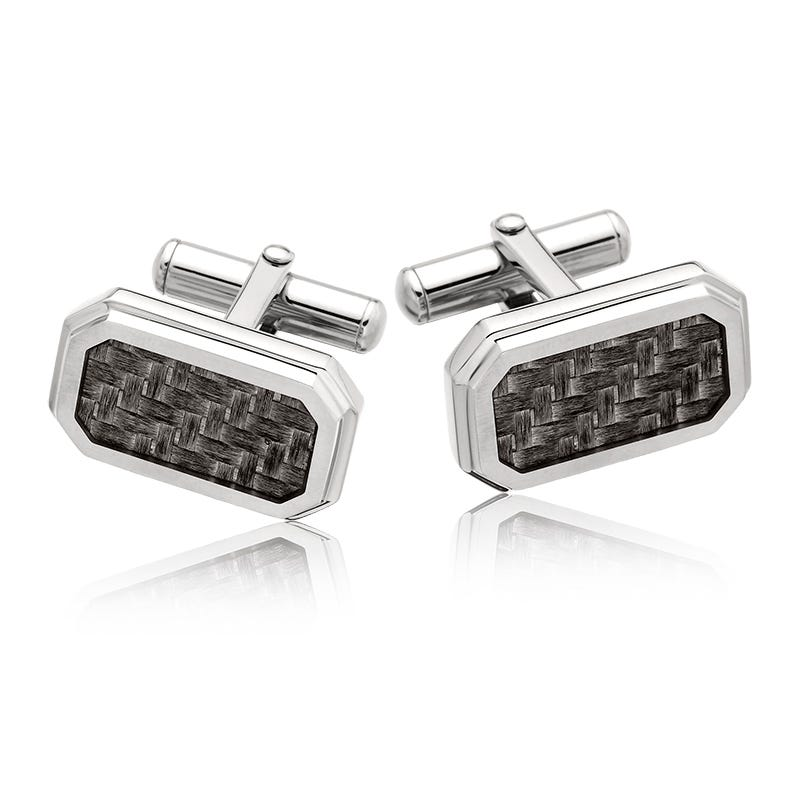 Men's Stainless Steel Cufflinks with Carbon Fiber Inlay