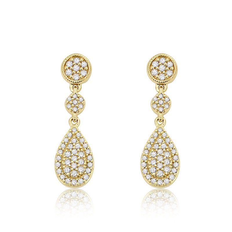 Diamond 1/3ct. Triple Drop Earrings in 14k Yellow Gold