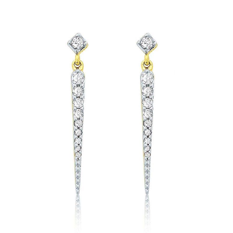 Diamond ¼ct. Spike Drop Earrings in 14k Yellow Gold