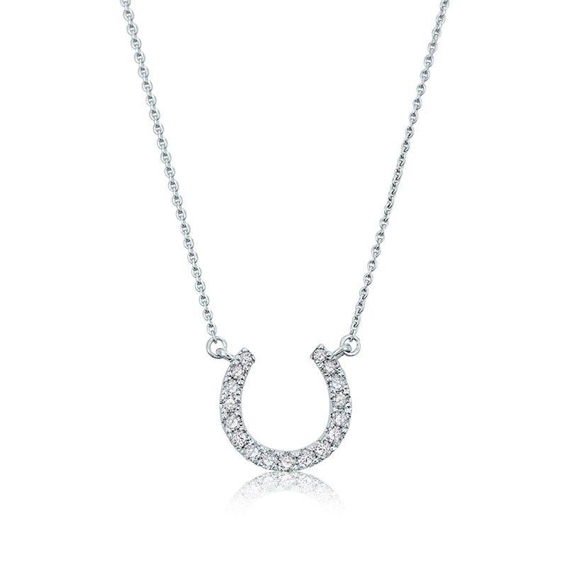 Diamond Horseshoe Necklace in 10k White Gold