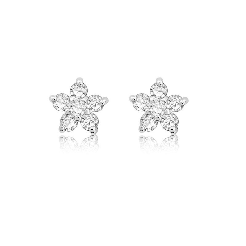 Diamond Flower Stud Earrings In 14k White Gold