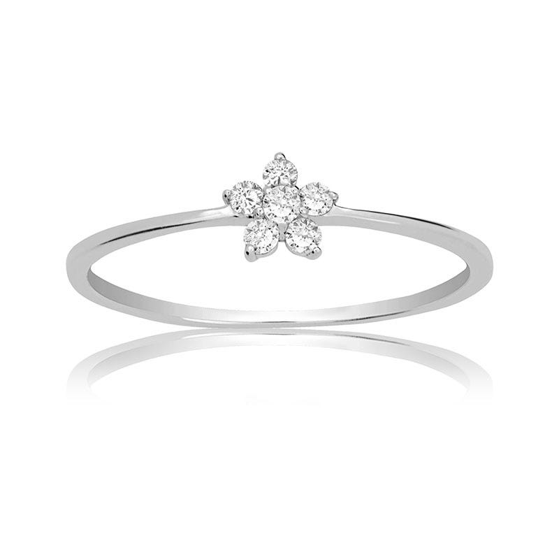 Diamond Flower Ring in 14k White Gold