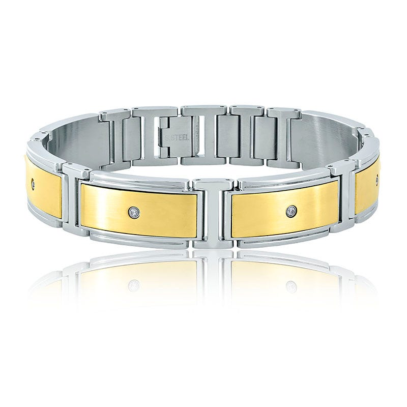 Men's Stainless Steel ¼ct. Diamond Bracelet with Yellow Plate