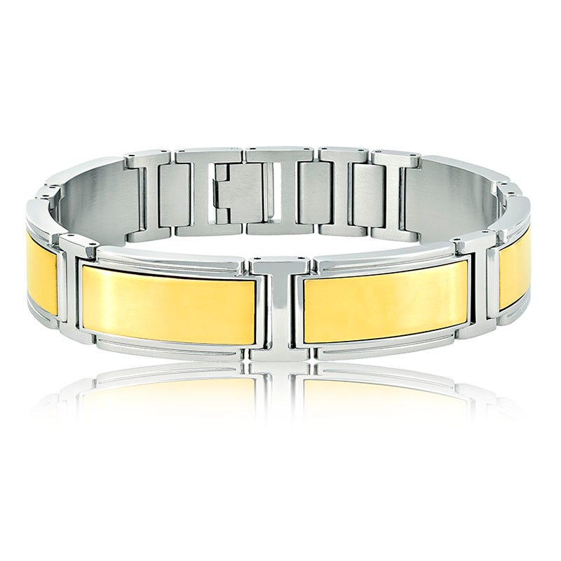 Men's Stainless Steel Bracelet with Yellow Plate