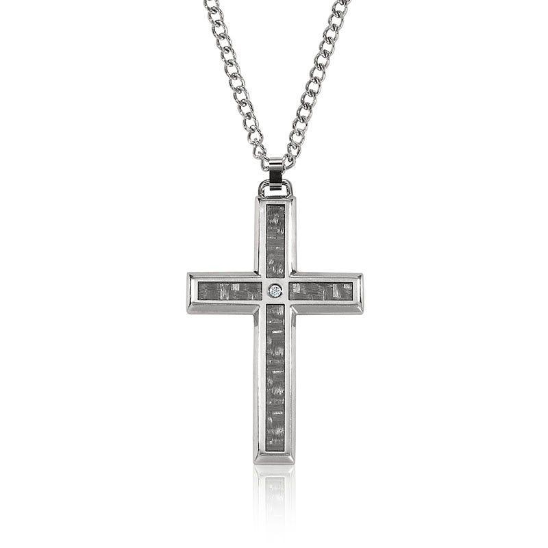 Stainless Steel Diamond Cross Pendant