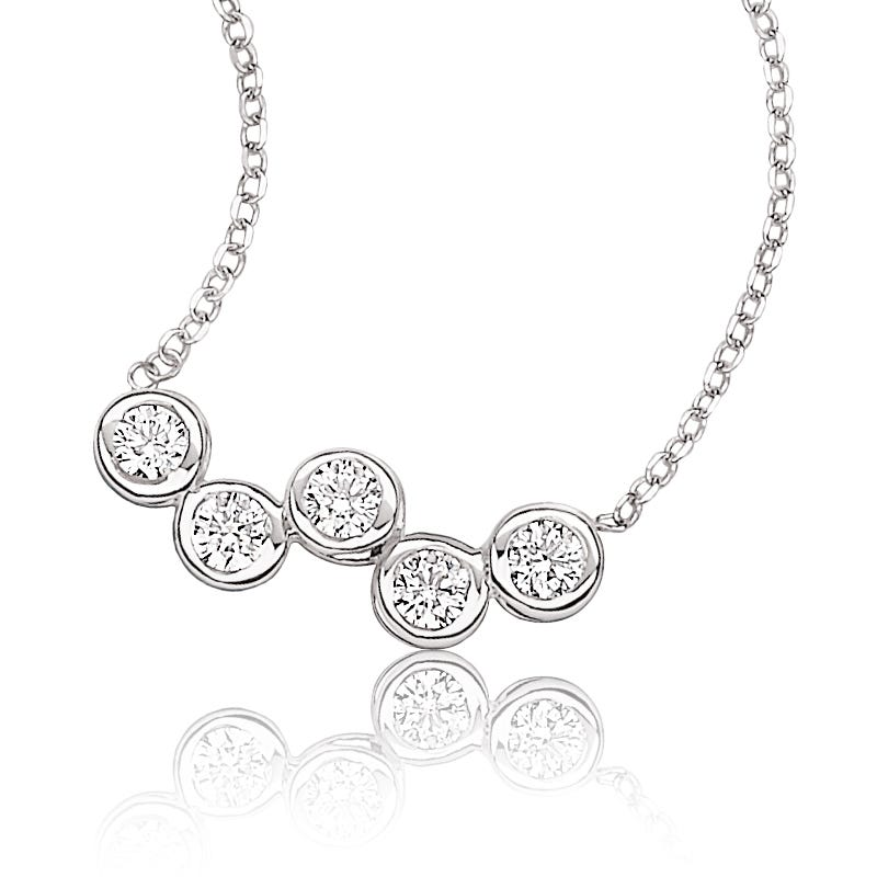 Sirena Diamond 5-Stone Bezel Necklace 14k White Gold