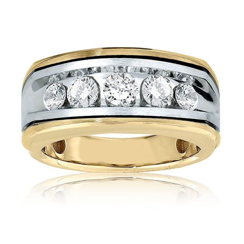 Men's 1ct. Diamond Wedding Band in 10k White & Yellow Gold