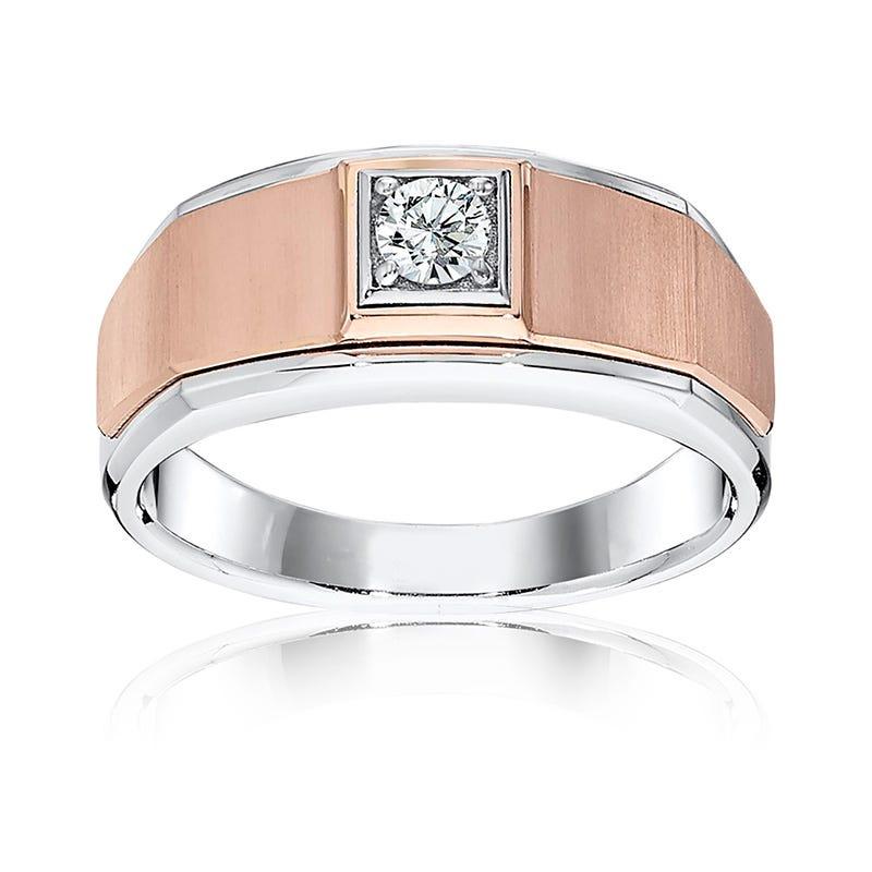Men's 1/4ct. Diamond Solitaire Ring in 10k White & Rose Gold