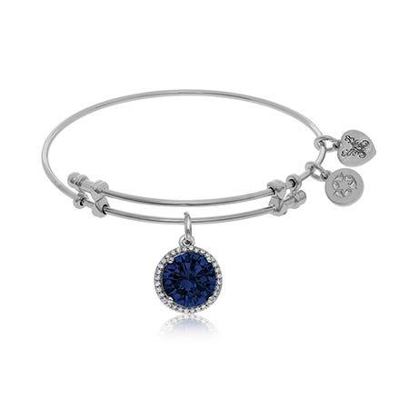September Birthstone Charm Bangle Bracelet in White Brass