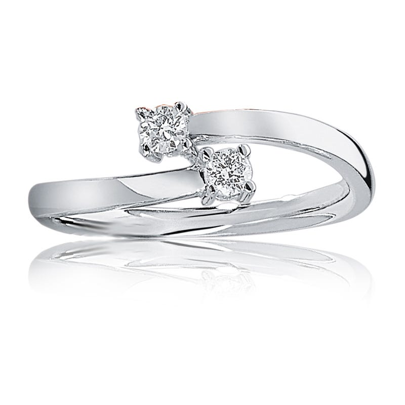 You & Me Diamond 2 Stone Ring in 10k White Gold