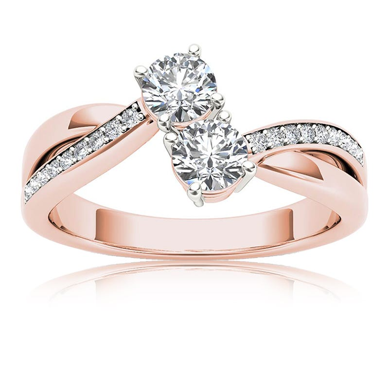 You & Me 1/2ct. Diamond 2-Stone Ring in 10k Rose Gold