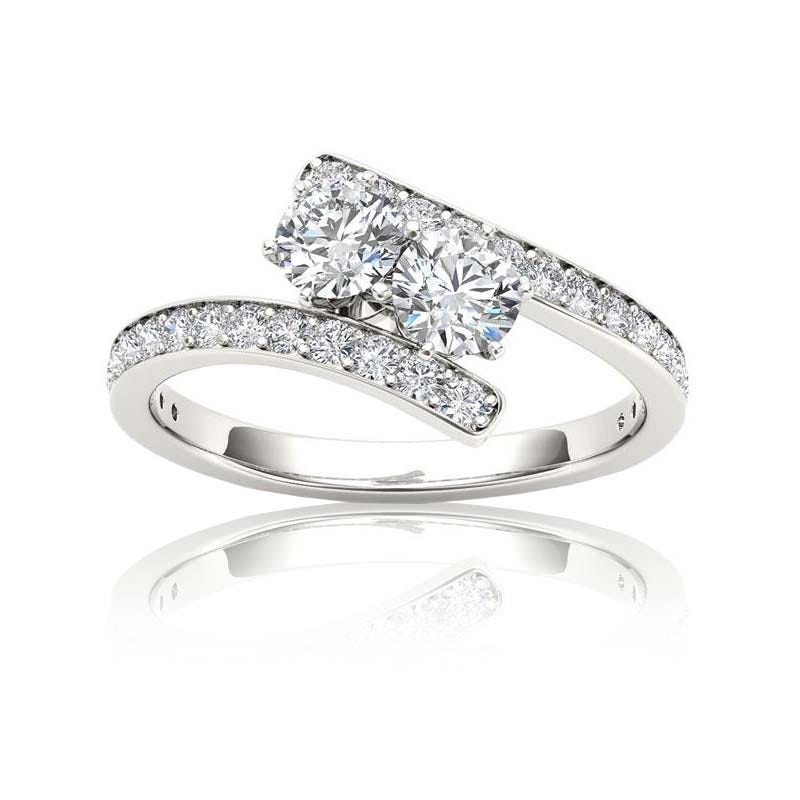 You & Me 1/2ct. Bypass Diamond 2 Stone Ring in 14k White Gold
