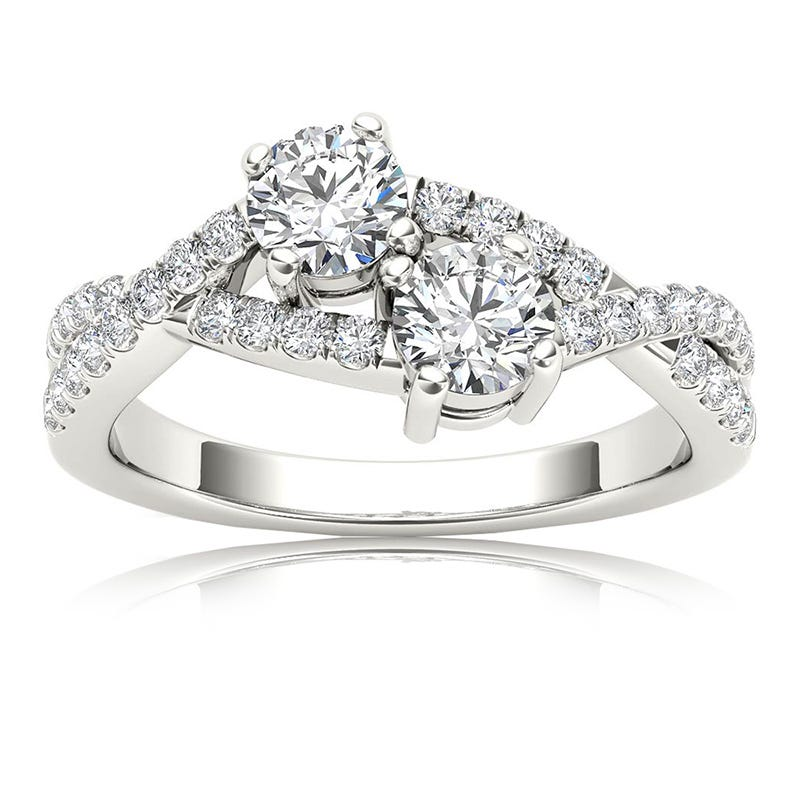 You & Me 3/4ct. Diamond 2 Stone Ring in 14k White Gold
