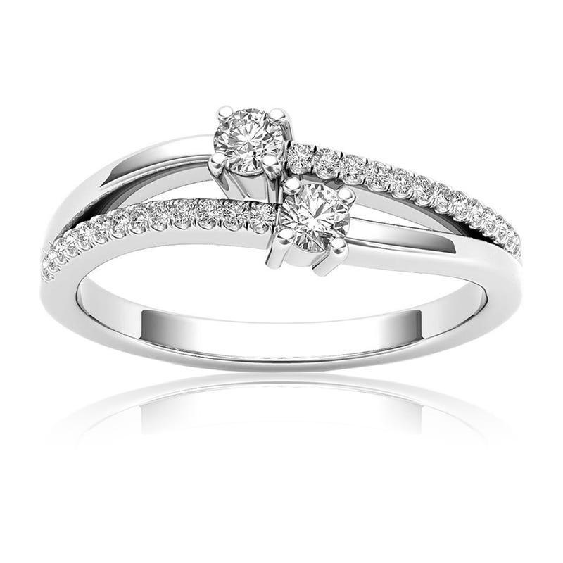 You & Me ¼ct. Diamond 2 Stone Ring in 10k White Gold