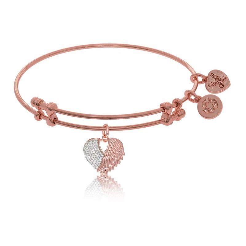 Heart & Angel Wings Crystal Charm Bangle Bracelet in Pink Brass