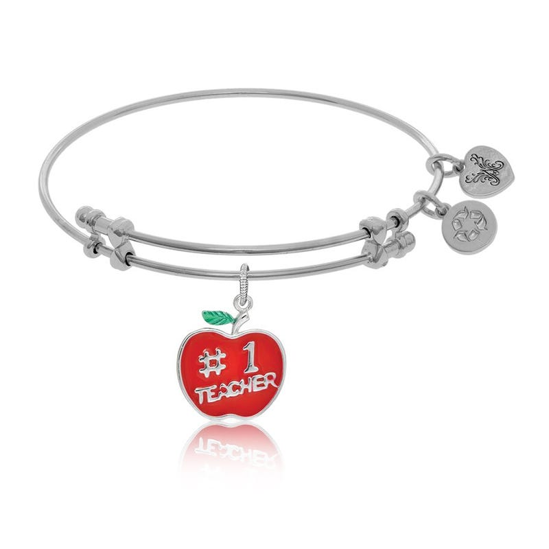 No.1 Teacher Charm Bangle Bracelet in White Brass