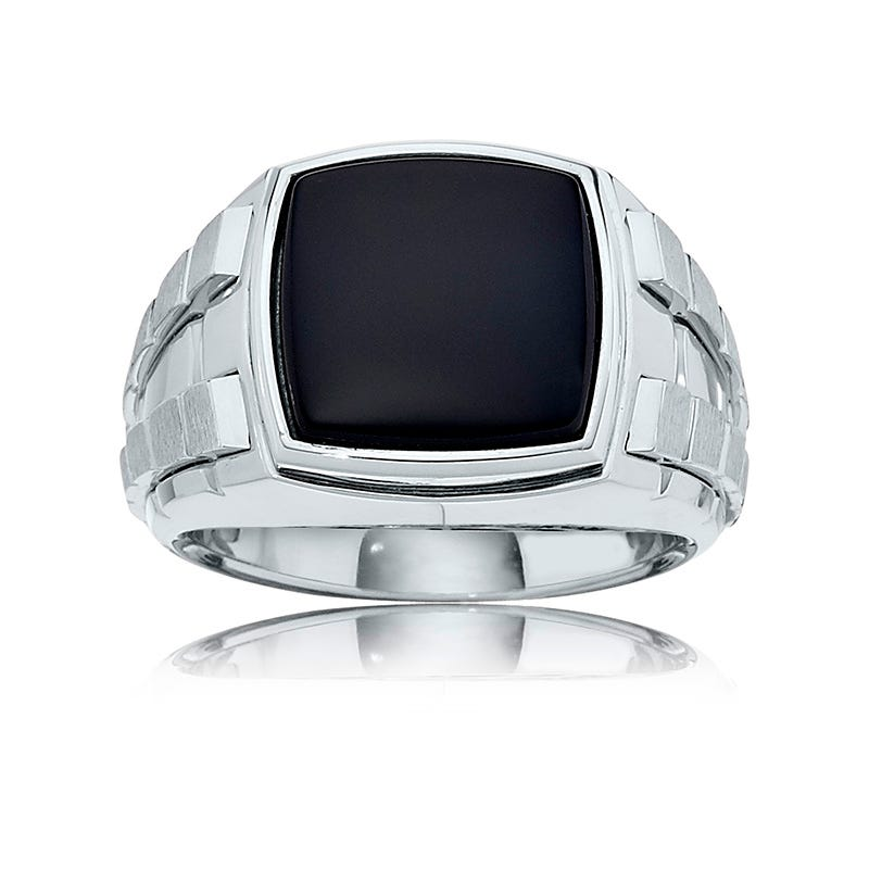 Men's Black Onyx Bright Polished Ring in Sterling Silver
