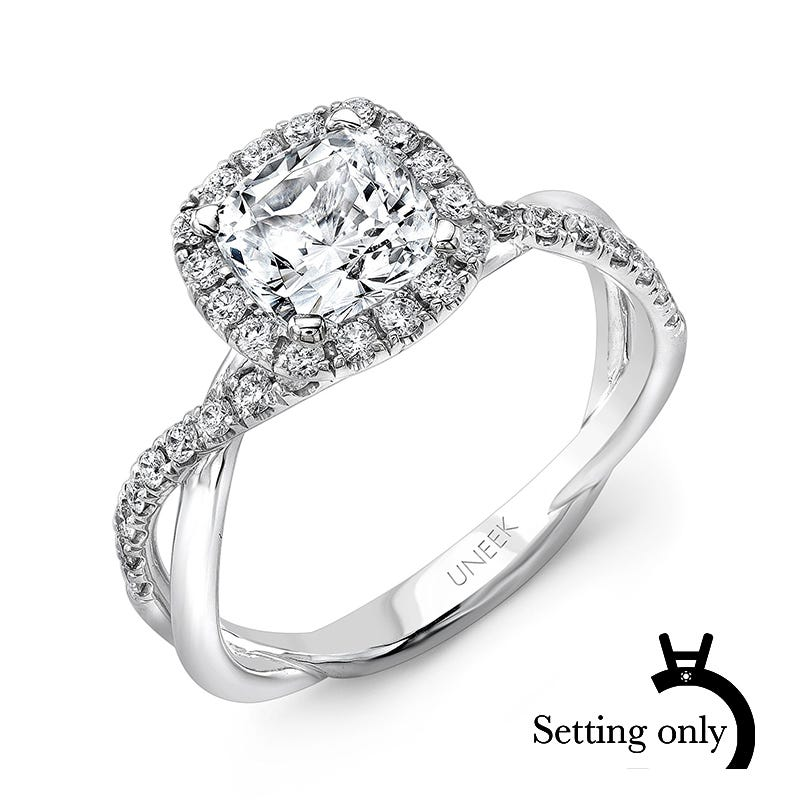 Uneek Diamond Semi-Mount Cushion-Shaped Diamond Halo & Infinity-Style Crisscross Shank in 14K White Gold