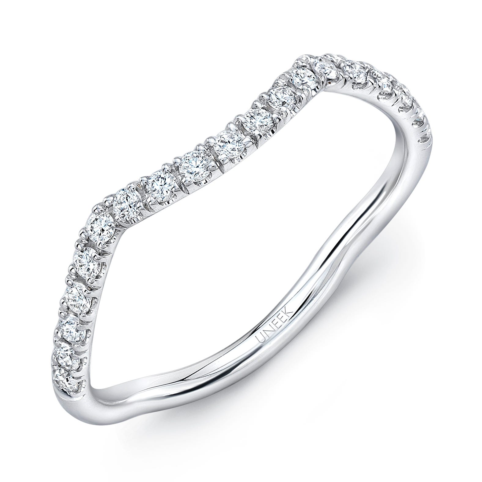 Uneek Infinity Pave Diamond Contoured Wedding Band in 14K White Gold