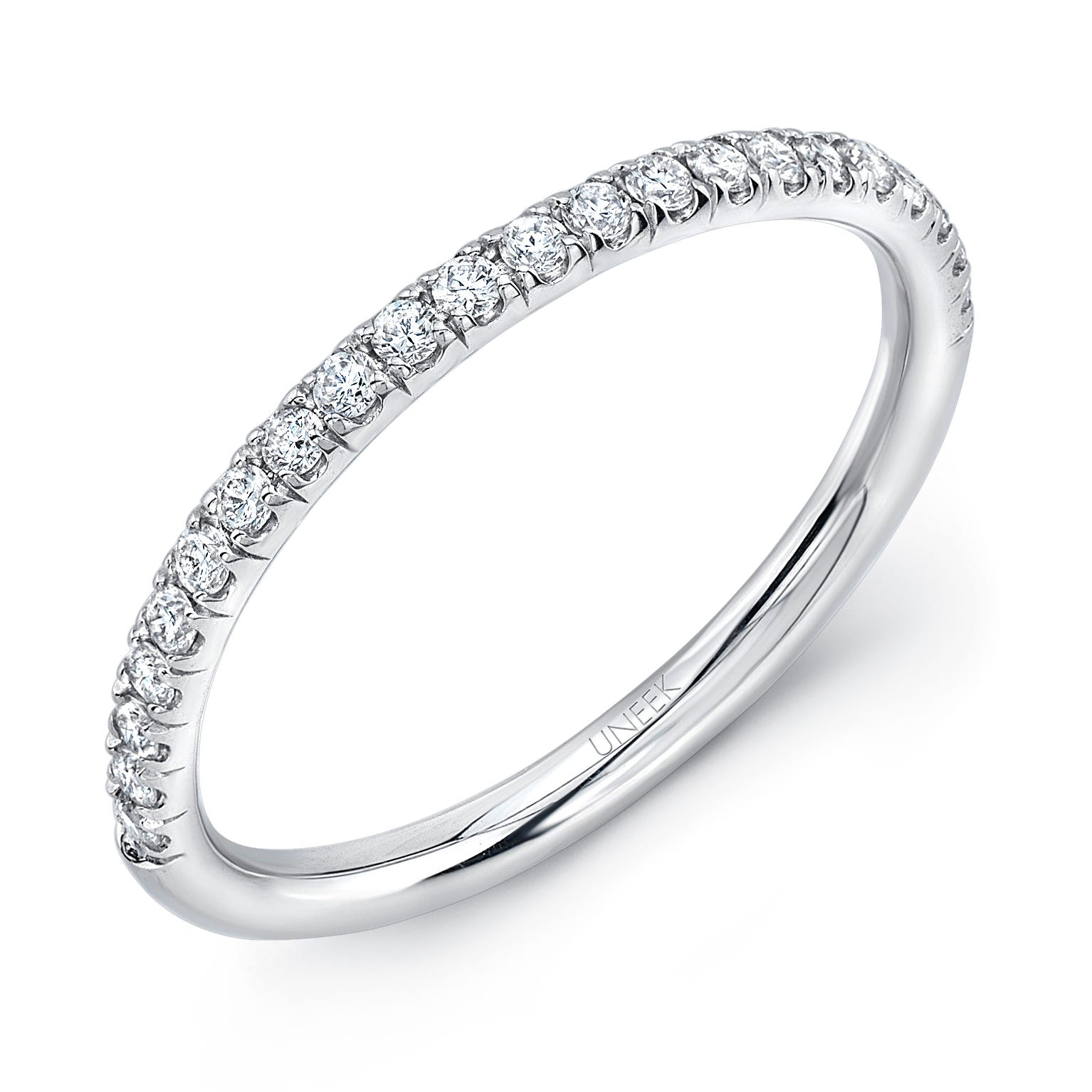 Uneek Silhouette Pave Diamond Wedding Band in 14K White Gold