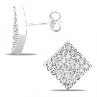 Diamond Square 0.50ctw. Pave Cluster Stud Earrings in 14k White Gold