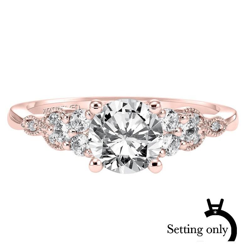 Adeline. ArtCarved Vintage Inspired Diamond Semi,Mount in 14k Rose Gold
