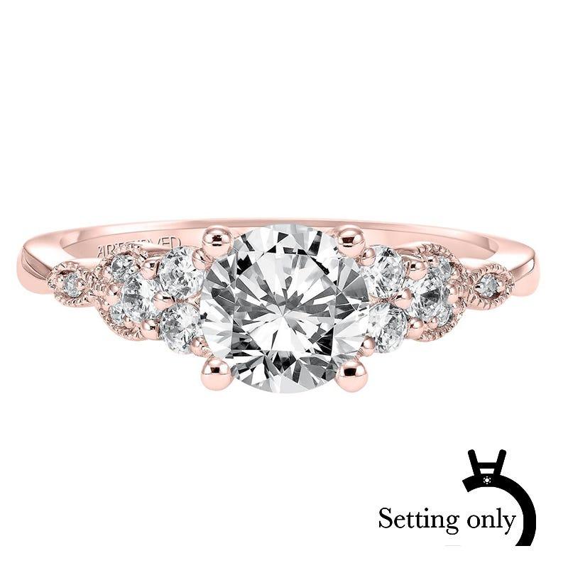 Adeline. ArtCarved Vintage Inspired Diamond Semi-Mount in 14k Rose Gold