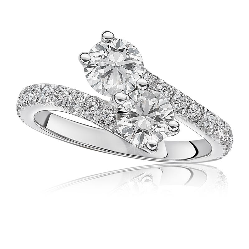 You & Me Two Stone 3/8ct. Diamond Ring in 14k White Gold