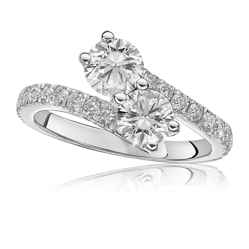 You & Me Two Stone 1.50ctw. Diamond Ring in 14k White Gold