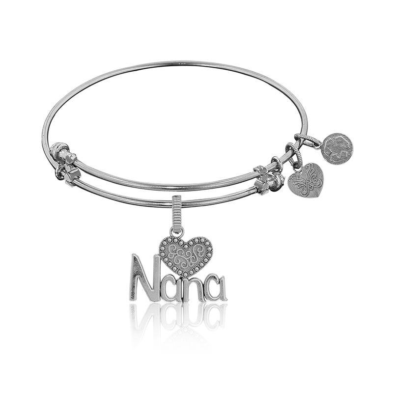 Nana Charm Bangle Bracelet in White Brass