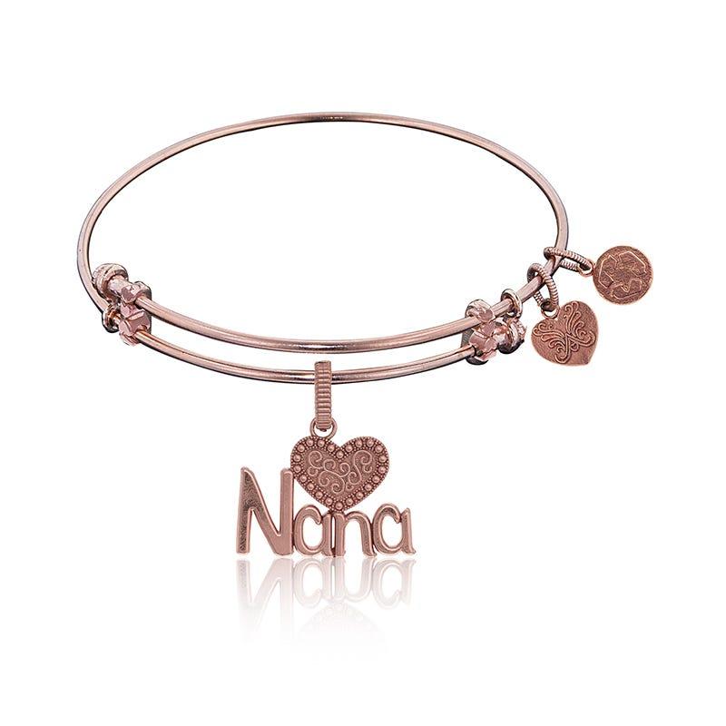 Nana Charm Bangle Bracelet in Pink Brass